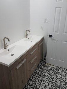 New bathroom vanity with double sink.