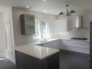Brand new countertops and modern cupboards.